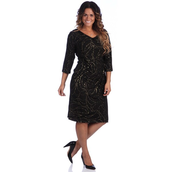 Alex Evenings Knee Length Cocktail Side Ruched Dress