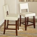 Linon Vega White Leatherette and Wood 24-inch Counter Stool