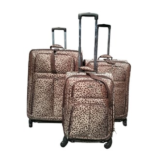 Kemyer Classic Collection Brown Cheetah 3-piece Spinner Luggage Set