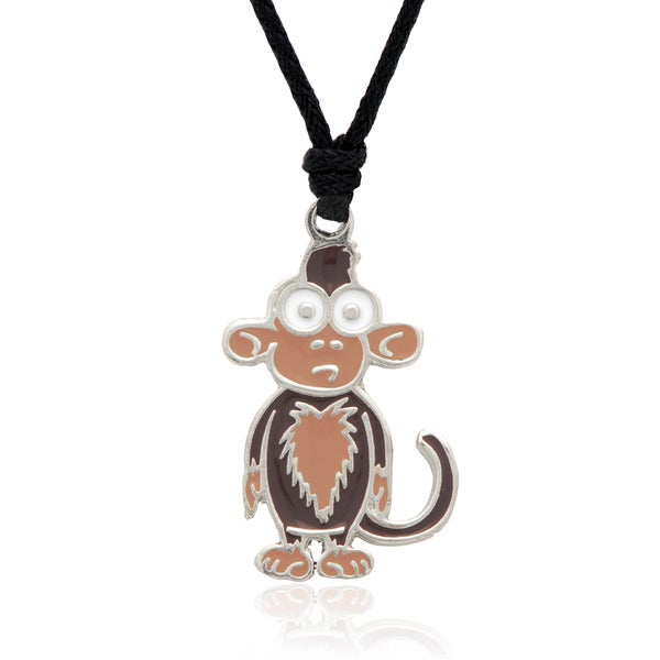 Molly and Emma Brown Enamel Monkey Necklace