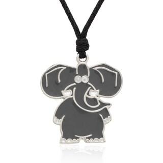 Molly and Emma Grey Enamel Elephant Necklace