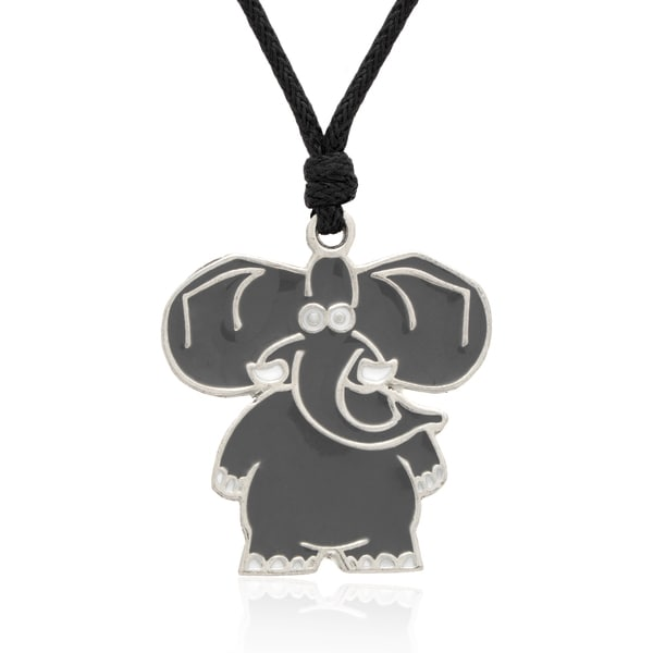 Molly and Emma Grey Enamel Elephant Necklace