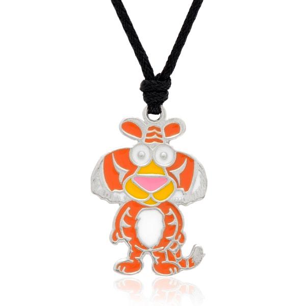 Molly and Emma Orange Enamel Tiger Necklace