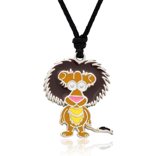 Molly Emma Brown Enamel Lion Necklace
