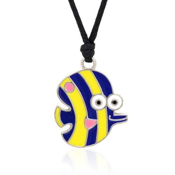 Molly and Emma Blue and Yellow Enamel Striped Fish Necklace