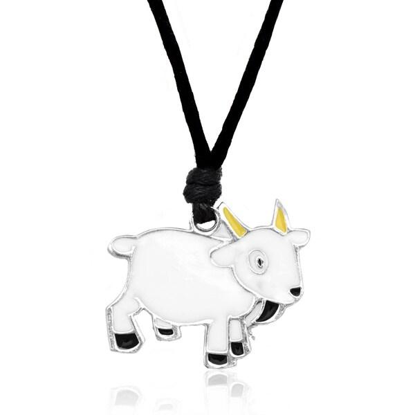 Molly and Emma White Enamel Goat Necklace