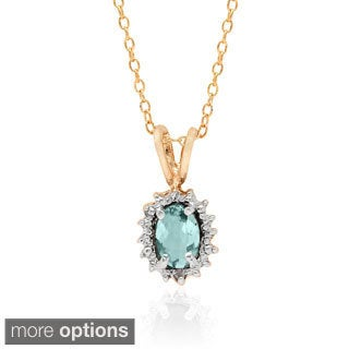 Dolce Giavonna Sterling Silver Gemstone and Diamond Accent Oval Necklace