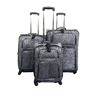 Kemyer Classic Collection Black Cheetah 3-piece Spinner Luggage Set