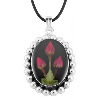Silverplated Black Oval Aztec Medallion and Roses Necklace (Mexico)