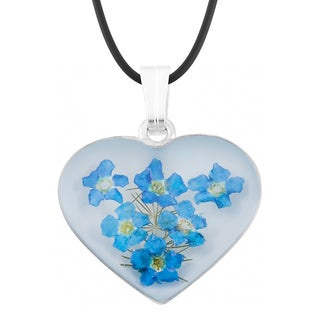 Silverplated Bouquet of Blue 'Forget Me Not' Flowers Heart Necklace (Mexico)