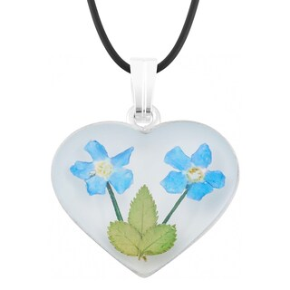 Silverplated Blue 'Forget Me Not' Flowers Heart Shape Pendant Necklace (Mexico)