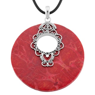 Red Coral Sterling Silver Large Round Pendant Necklace (Indonesia)