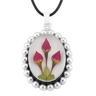 Silverplated Oval Aztec and Roses Medallion Necklace (Mexico)
