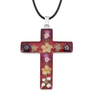 Silverplated Large Red Bouquet of Real Flowers Cross Necklace (Mexico)