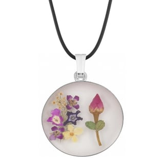 Silverplated Colorful Bouquet of Real Flowers Pendant (Mexico)