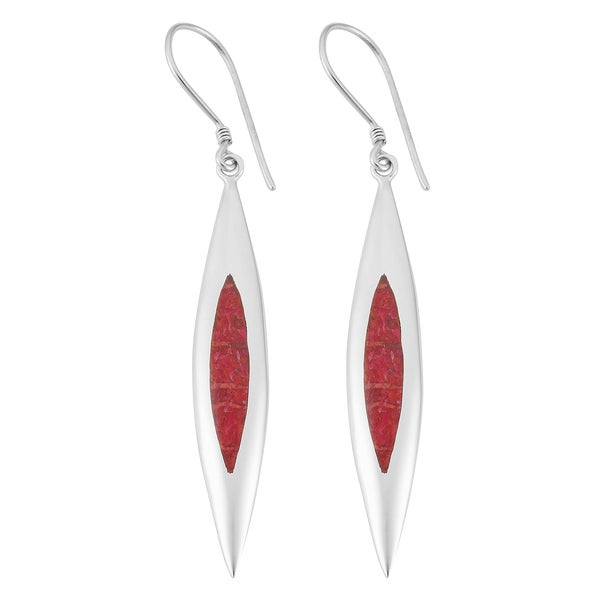 Sterling Silver Red Coral Long Dangle Earrings (Indonesia)