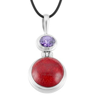 Sterling Silver Red Coral and Amethyst Necklace (Indonesia)