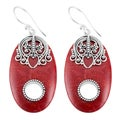 Handmade Sterling Silver Red Coral Dangle Earrings (Indonesia)