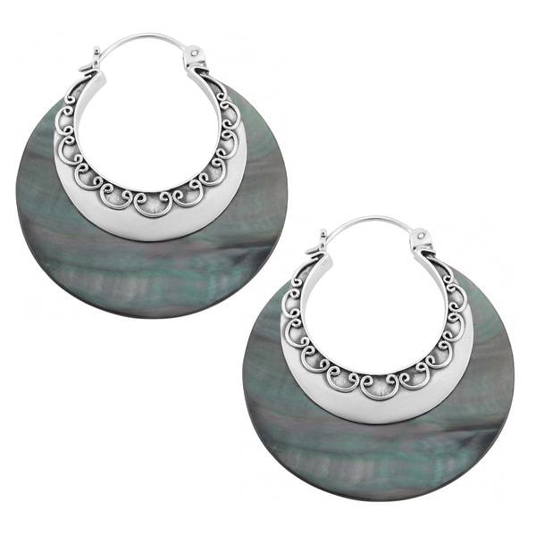 Sterling Silver Grey Mother of Pearl Round Hoop Earrings (Indonesia)