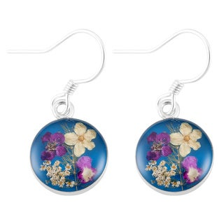 Silverplated Real Multicolored Flowers Round Dangle Earrings (Mexico)