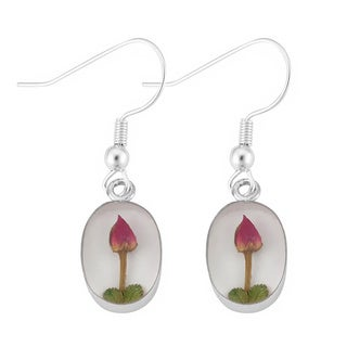 Silverplated Real Red Roses White Oval Earrings (Mexico)