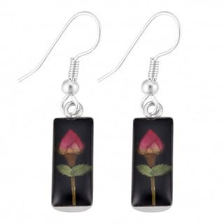 Silverplated Real Red Roses Black Dangle Earrings (Mexico)