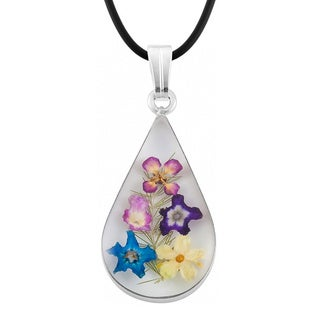 Silverplated Multicolored Bouquet of Flowers Teardrop Necklace (Mexico)