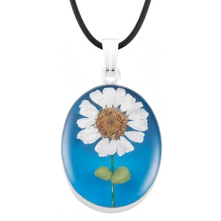 Silverplated Real Daisy Blue Oval Necklace (Mexico)