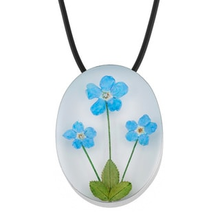 Silverplated Bouquet of Blue 'Forget Me Not' Flowers Oval Necklace Pin (Mexico)