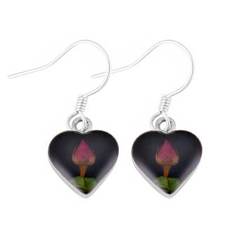 Silverplated Real Red Roses Black Heart Earrings (Mexico)