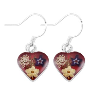 Silverplated Multicolored Real Flowers Red Heart Dangle Earrings (Mexico)