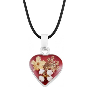 Silverplated Multicolored Bouquet of Flowers Red Heart Necklace (Mexico)