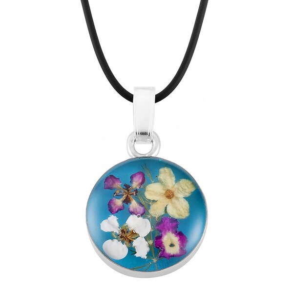 Silverplated Multicolored Bouquet of Flowers Blue Necklace (Mexico)