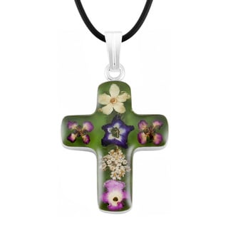 Silverplated Multicolored Bouquet of Flowers Green Cross Necklace (Mexico)