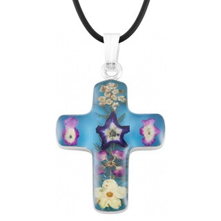 Silverplated Multicolored Bouquet of Flowers Blue Cross Necklace (Mexico)