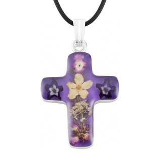 Silverplated Multicolored Bouquet of Flowers Purple Cross Necklace (Mexico)