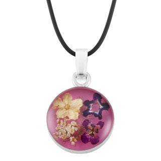 Silverplated Multicolored Bouquet of Flowers Pink Pendant Necklace (Mexico)