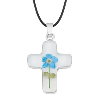 Silverplated Blue 'Forget Me Not' Flower Cross Necklace (Mexico)