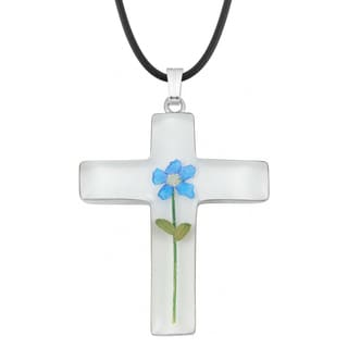 Silverplated Blue 'Forget Me Not' Flower Large Cross Necklace (Mexico)
