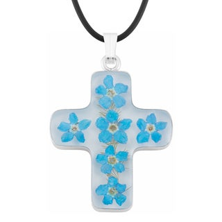 Silverplated Blue 'Forget Me Not' Flowers Cross Necklace (Mexico)