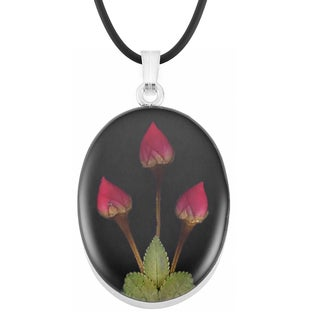 Silverplated Real Red Roses Black Oval Pendant Necklace (Mexico)