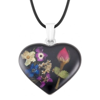 Silverplated Multicolored Bouquet of Flowers Black Heart Necklace (Mexico)