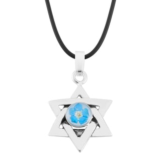 Silverplated Blue 'Forget Me Not' Flower Star of David Pendant Necklace (Mexico)