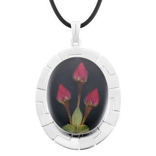 Silverplated Large Black Oval Aztec Medallion and Roses Necklace (Mexico)