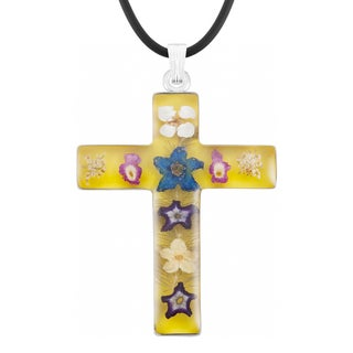 Silverplated Large Yellow Bouquet of Real Flowers Cross Necklace (Mexico)