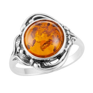 Sterling Silver Cognac Amber Floral Ring (Poland)