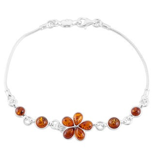Sterling Silver Cognac Amber Floral Bracelet (Poland)