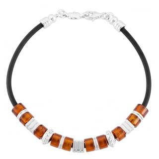 Sterling Silver Cognac Amber Black Rubber Bracelet (Poland)