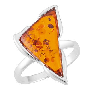 Sterling Silver Cognac Amber Geometric Ring (Poland)