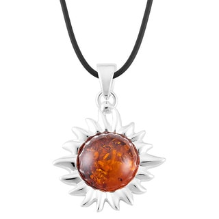 Sterling Silver Amber Sunburst Pendant Necklace (Poland)